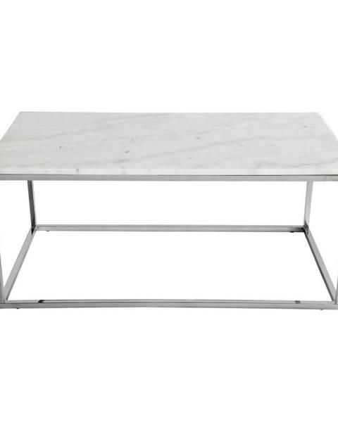RGE Konferenčný stolík s bielou mramorovou doskou a podnožou v striebornej farbe RGE Accent