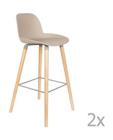 Súprava 2 tmavosivých barových stoličiek Zuiver Albert Kuip, výška sedu 75 cm