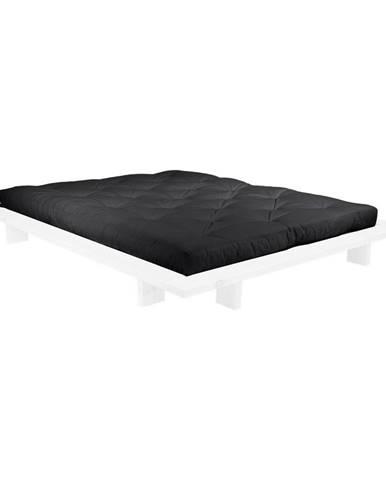 Dvojlôžková posteľ z borovicového dreva s matracom Karup Design Japan Double Latex White/Black, 140 × 200 cm