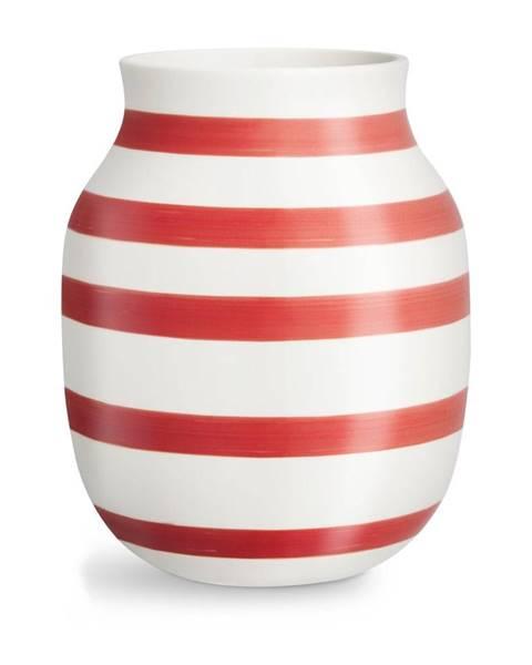 Kähler Design Bielo-červená pruhovaná keramická váza Kähler Design Omaggio, výška 20,5 cm