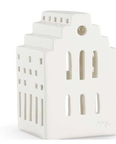 Biely keramický lampáš Kähler Design Long Church, výška 10 cm