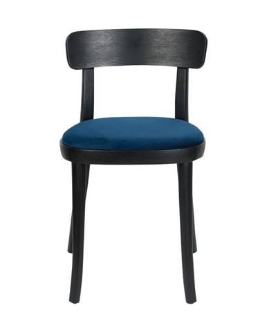 Sada 2 čiernych jedálenských stoličiek s modrým podsedákom Dutchbone Brandon