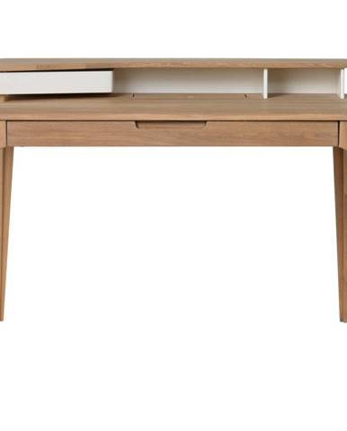 Písací stôl z dreva bieleho duba Unique Furniture Amalfi, 120x60cm