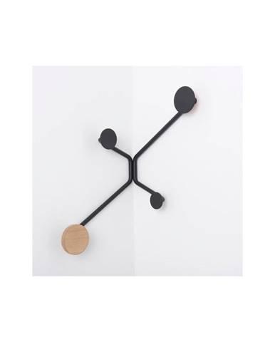 Čierny rohový nástenný vešiak Gazzda Hook
