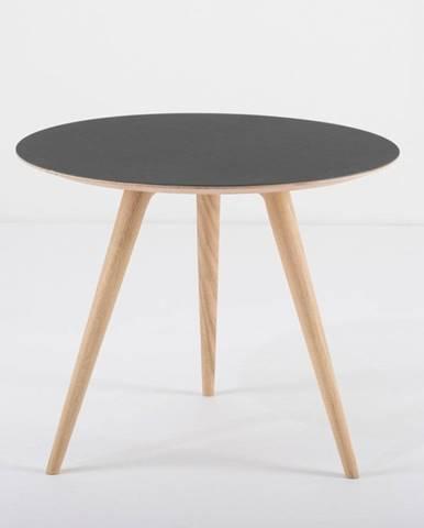 Odkladací stolík z dubového dreva s čiernou doskou Gazzda Arp, ⌀ 55 cm