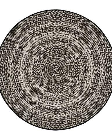 Čierny vonkajší koberec Universal Silvana Rutto, ⌀120 cm