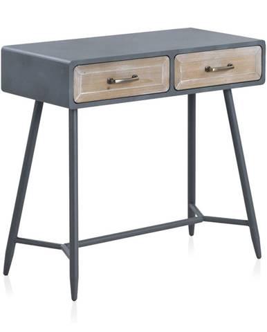 Konzolový stôl so sivými detailmi a dvoma zásuvkami Geese Rustico Duro
