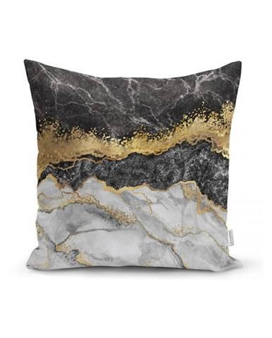 Obliečka na vankúš Minimalist Cushion Covers BW Marble With Golden Lines, 45x45cm