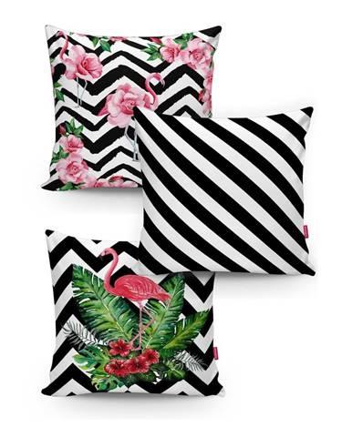 Sada 3 obliečok na vankúše Minimalist Cushion Covers BW Stripes Jungle, 45x45cm