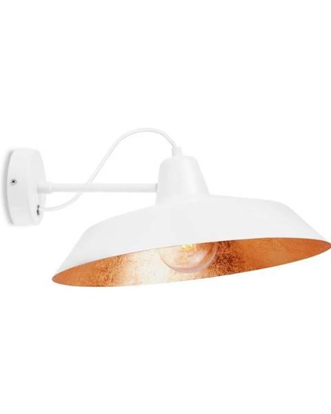 Bulb Attack Biele nástenné svietidlo s detailom v medenej farbe Bulb Attack Cinco Basic, ⌀ 40 cm