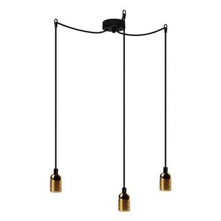 Čierne trojramenné závesné svietidlo s detailmi v zlatej farbe Bulb Attack Uno Basic