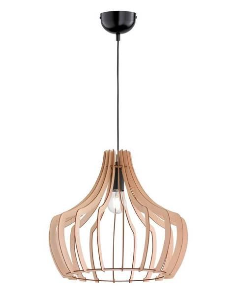 Trio Svetlohnedé závesné svietidlo z dreva a kovu Trio Wood, výška 150 cm