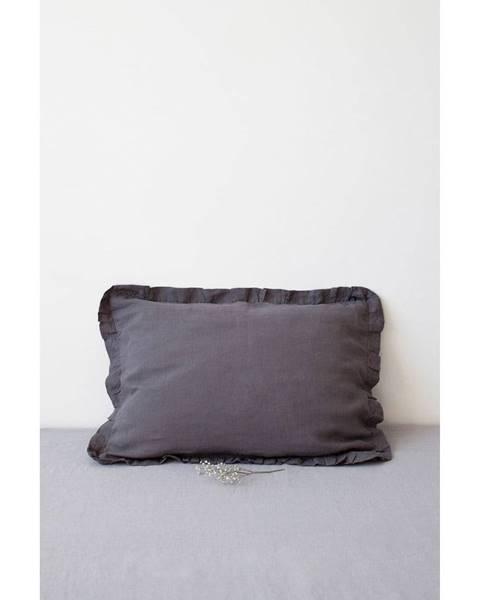 Linen Tales Tmavosivý ľanový vankúš s riaseným lemom Linen Tales, 50 x 60 cm