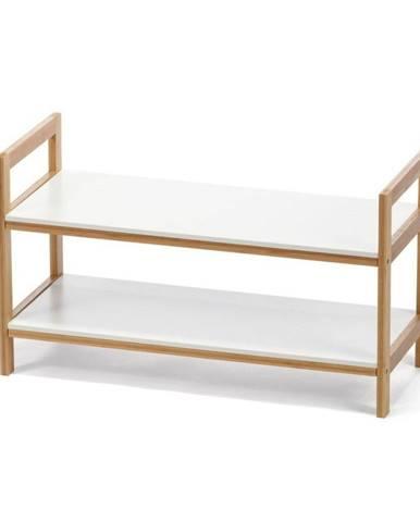 Biely dvojposchodová skrinka na topánky s bambusovou konštrukciou loomi.design Lora