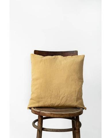Medovožltá ľanová obliečka na vankúš Linen Tales, 45 x 45 cm