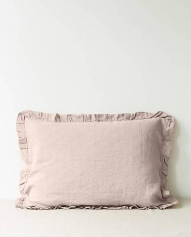 Svetlohnedá ľanová obliečka na vankúš s riaseným lemom Linen Tales, 50 x 60 cm