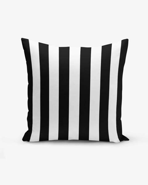 Minimalist Cushion Covers Čierno-biela obliečka na vankúš s prímesou bavlny Minimalist Cushion Covers Black White Striped, 45×45 cm