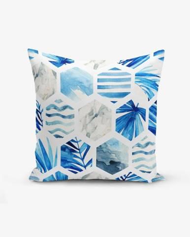 Obliečka na vankúš s prímesou bavlny Minimalist Cushion Covers Blue Geometric, 45×45 cm