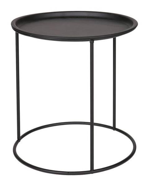 WOOOD Čierny odkladací stolík WOOOD Ivar, ø40cm