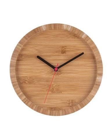 Hnedé nástenné bambusové hodiny Karlsson Tom, ⌀ 26 cm