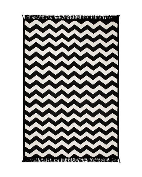 Cihan Bilisim Tekstil Čierno-biely obojstranný koberec Zig Zag 80×150 cm