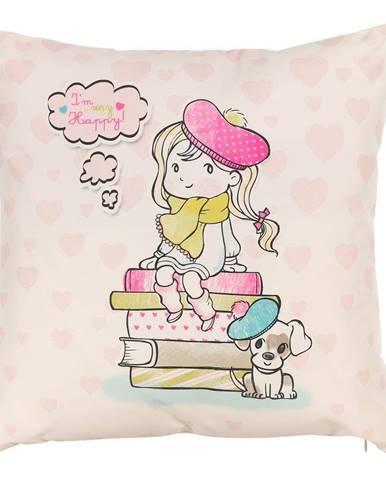 Obliečka na vankúš Mike&Co.NEWYORK Happy Girl, 43 × 43 cm