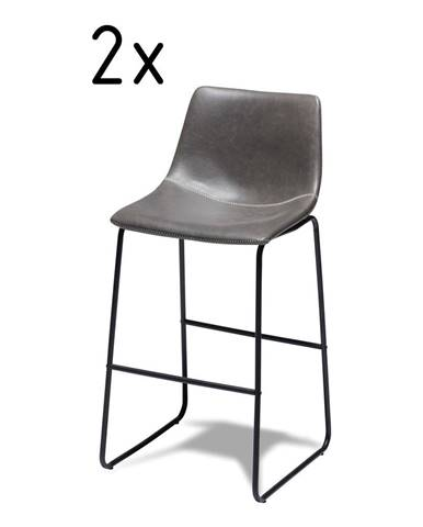 Sada 2 sivých barových stoličiek FurnhoIndiana