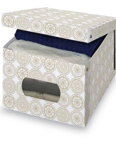 Béžový úložný box Domopak Ella, výška 31cm