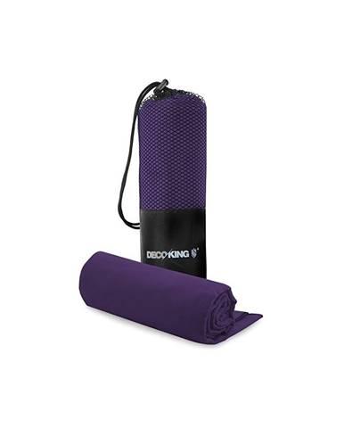 Set fialovej rýchloschnúcej osušky a uteráku DecoKing EKEA, 70 × 140 cm + 30 × 50 cm