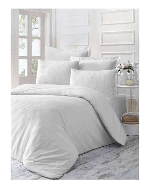 Victoria Biele obliečky z bavlneného saténu na jednolôžko Line, 140 × 200 cm