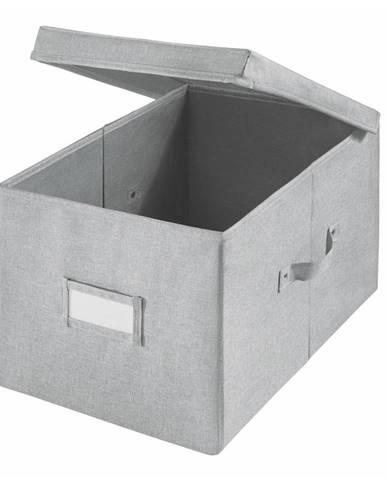Sivý úložný box iDesign Codi, 39 × 28 cm
