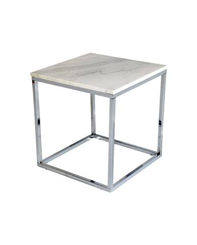 Biely mramorový odkladací stolík s chrómovanou podnožou RGE Accent, šírka 50cm