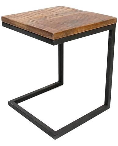 Čierny odkladací stolík s doskou z mangového dreva LABEL51 Box