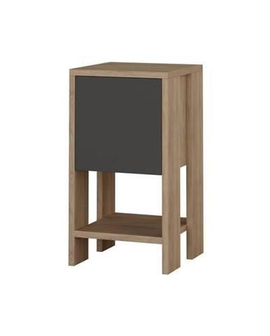 Antracitový nočný stolík s detailmi v dekore dubového dreva Garetto Ema