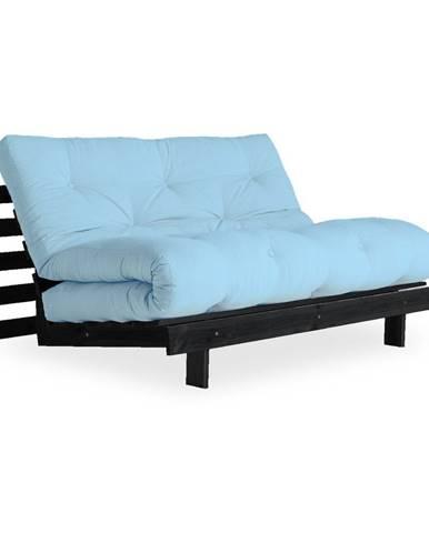 Rozkladacia pohovka so svetlomodrým poťahom Karup Design Roots Black/Light Blue