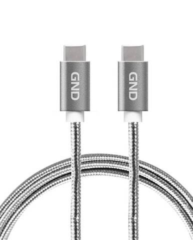 Kábel GND USB-C / USB-C 3.1, PD, 2m, opletený sivý