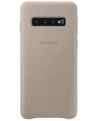 Kryt na mobil Samsung Leather Cover na Galaxy S10 sivý