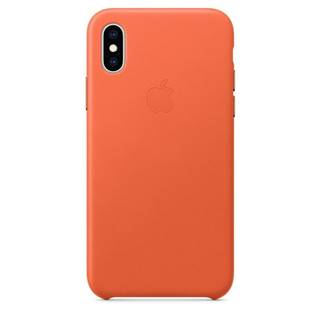 Kryt na mobil Apple Leather Case pre iPhone Xs - temne oranžový