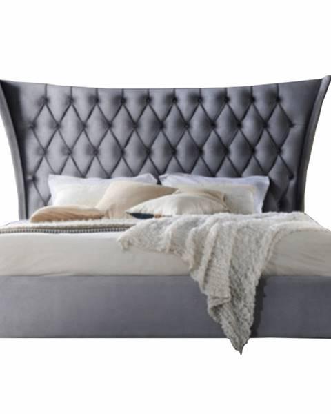 Tempo Kondela Manželská posteľ sivá/wenge 180x200 ALESIA