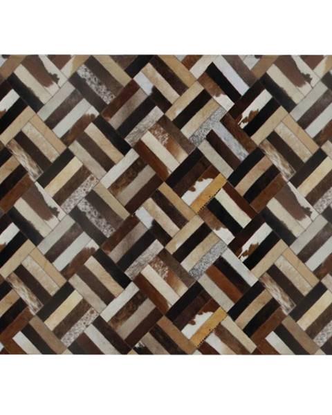 Kondela Luxusný kožený koberec hnedá/čierna/béžová patchwork 120x180  KOŽA TYP 2