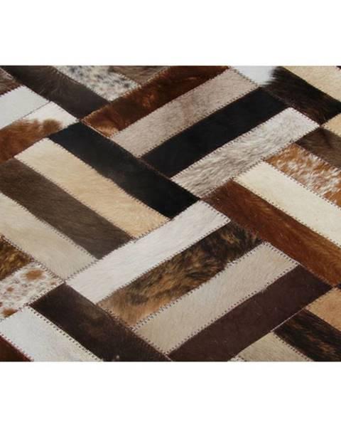 Tempo Kondela Luxusný kožený koberec hnedá/čierna/béžová patchwork 70x140  KOŽA TYP 2