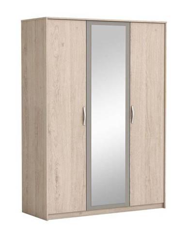 3-dverová skriňa so zrkadlom dub arizona/sivá GRAPHIC