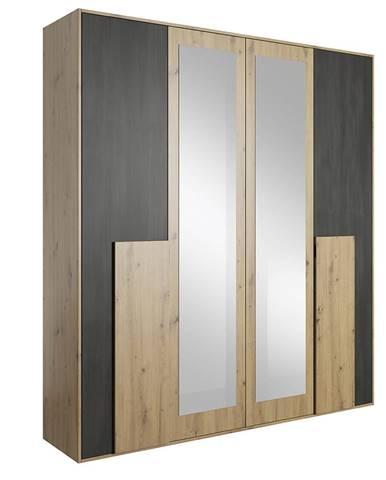 Skriňa so zrkadlom 4D dub artisan/čierna borovica nórska BAFRA