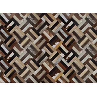 Luxusný kožený koberec hnedá/čierna/béžová patchwork 120x180  KOŽA TYP 2