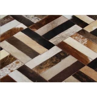Luxusný kožený koberec hnedá/čierna/béžová patchwork 70x140  KOŽA TYP 2