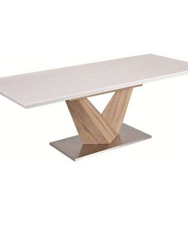 Jedálenský stôl biela extra vysoký lesk HG/dub sonoma DURMAN poškodený tovar
