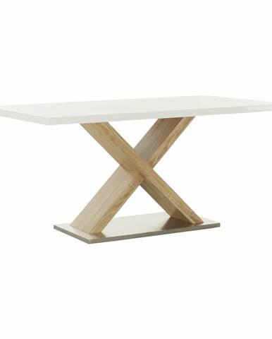 Jedálenský stôl biela s vysokým leskom HG/dub sonoma FARNEL
