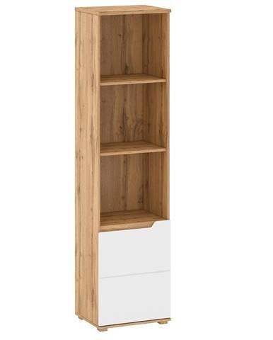 Regál dub wotan/biela extra vysoký lesk HG pravý VINCO R2