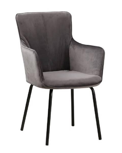 Kondela Dizajnové kreslo sivý zamat/čierna VETAR