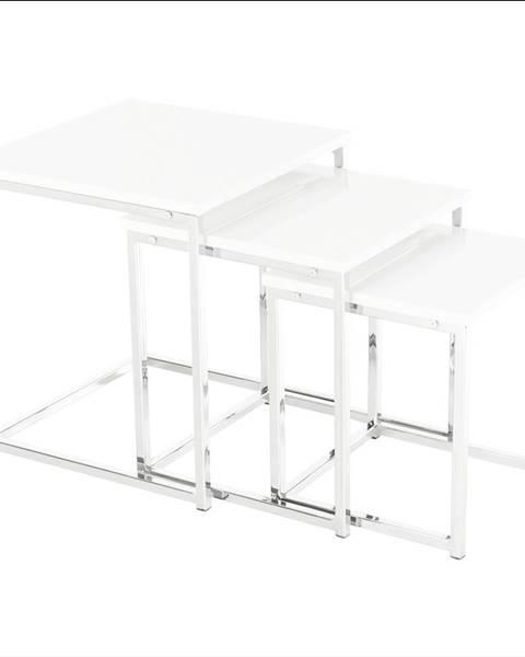 Kondela Set 3 konferenčných stolíkov biela extra vysoký lesk ENISOL TYP 3